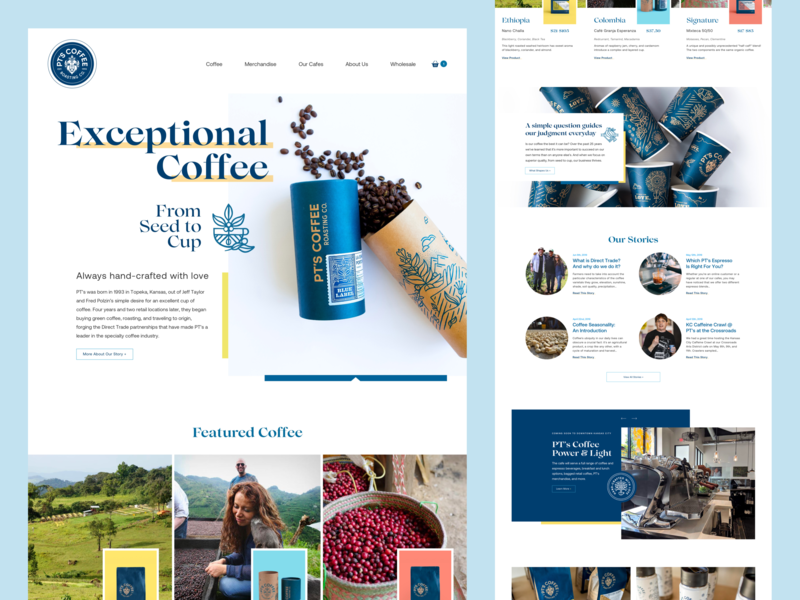 PT's Coffee Homepage ecommerce business ecommerce design web design website homepage clean illustration typography minimal ui coffee coffee shop flat e-commerce store product web design
