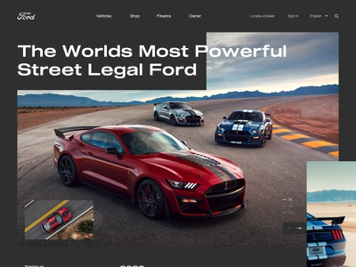 Ford Mustang Shelby GT500 landing page typography clean minimal muscle car heritage transportation landing page design homepage dark theme ford mustang grid web car automotive ui web design website