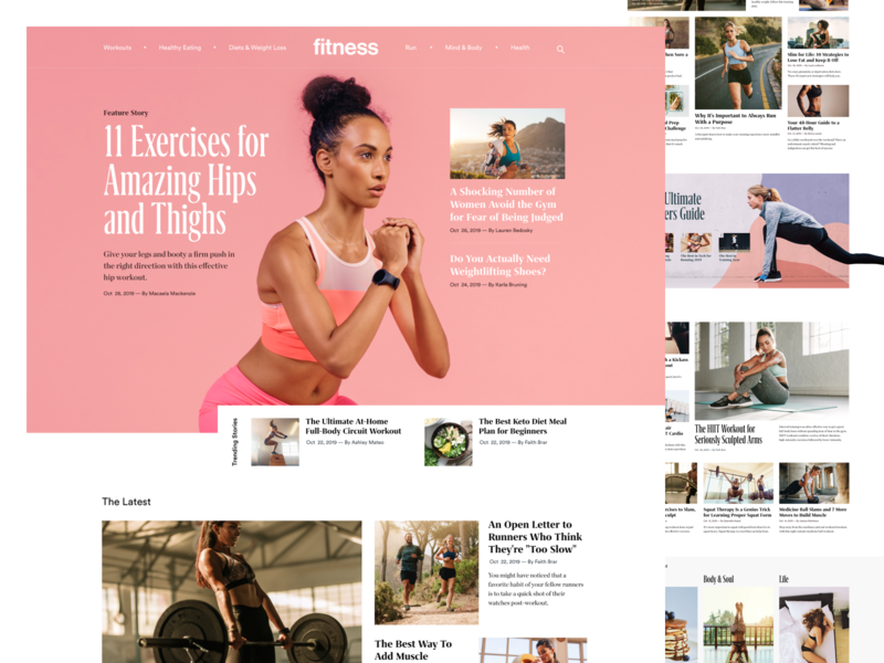 Fitnessmagazine.com Homepage Refresh figma women nutrition landing page running exercise homepage grid ui  ux female health workout fitness editorial design news site blog magazine web design clean website