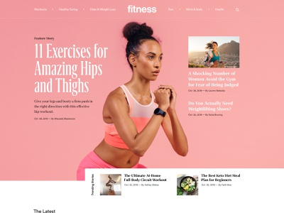 Fitnessmagazine.com Homepage Refresh fitness center figma women nutrition landing page running exercise homepage grid ui  ux female health workout fitness editorial design news site blog magazine web design clean