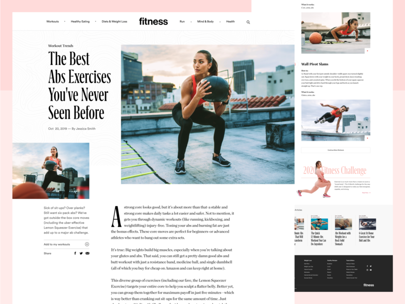 Fitnessmagazine.com Article Page web grid how-to publication ui running magazine editorial design typography article exercise blog clean web design website fitness