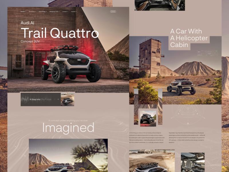 Audi AI Trail Quattro SUV ui future minimal grid design car brown ui design earthtones suv typography clean flat futuristic automotive homepage landing page web design website audi