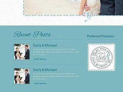 Photography Web Design wedding wordpress theme blue texture doily twine photography web design