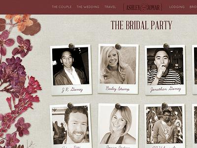 Wedding Party wedding web design bridal party napa maroon burlap polaroid pins