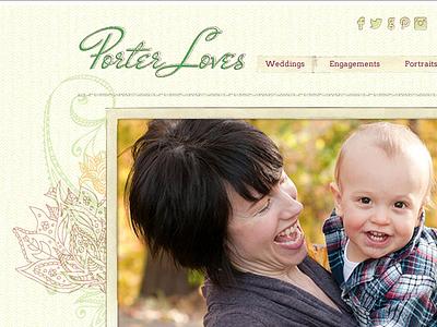 Porter Loves - Photography wordpress web design photography bohemian texture maroon green orange yellow tape mother baby