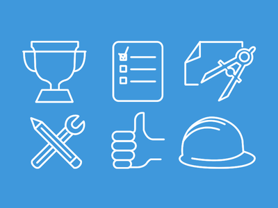 Custom Construction Icons web design icons trophy checklist compass pencil wrench thumbs up hard hat