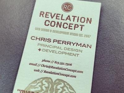 Business Card - Revelation Concept retro vintage red gold letterpress blair haymaker blanch georgia fonts typography brain engraving