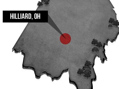 Hilliard, Ohio | Coming Soon Graphic wordpress bo jackson sports ohio map state marker black white red web design