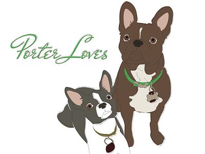 Porter Pups french bull dogs web design photography custom illustration offset brown green gray
