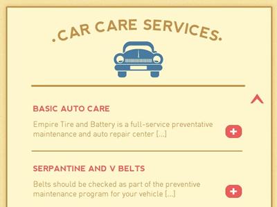 Empire Tire & Battery Service List wordpress service list web design red yellow blue retro car auto paper texture menu