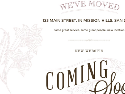 Coming Soon Page wordpress floral brown pink typography eclectic hipster salon web design