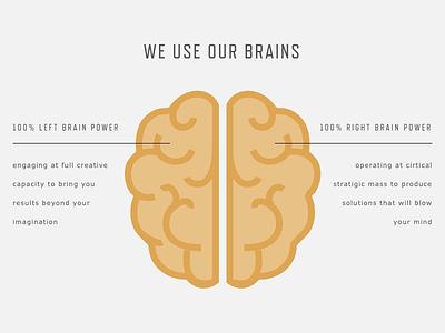 Mind-Blowing Things web design web development wordpress brain gold gray black creative agency branding