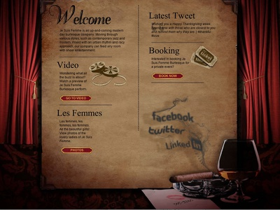 Je Suis Femme web design vintage dark moody romantic smoke social networks cigar burlesque curtains red velvet retro
