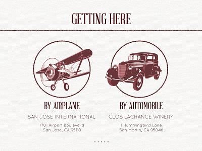 Getting Here Infographic web design infographic wordpress retro red winery california car plane