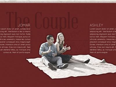 About the Couple web design wordpress wedding couple picnic red retro