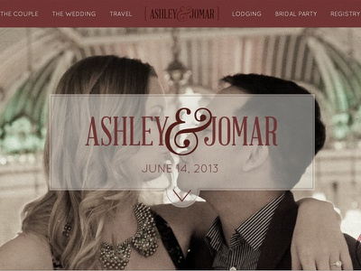 Ashley & Jomar web design wordpress wedding couple kiss red retro