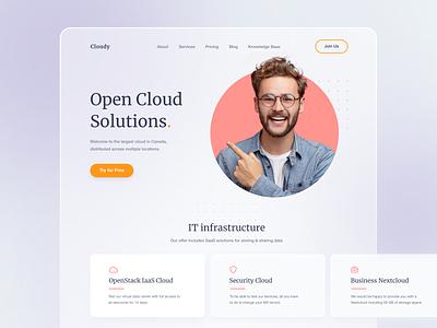 Landing Page Design design graphic design ui cloud solution startup first screen typography web design instinctools it cloud landing page