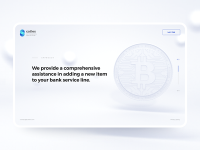 Cotlex. Landing Page coin minimal clean exchange cotlex crypto bitcoin blockchain 3d graphic design design instinctools landing page ui