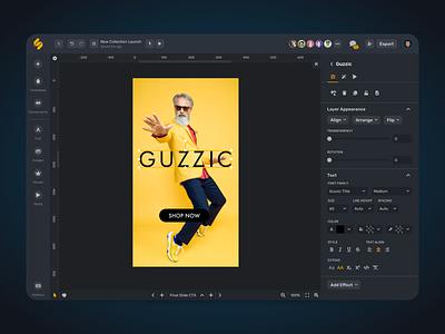 Simplified merketing banner man application graphic editor app design black dark yellow graphic graphic design editor ux ui