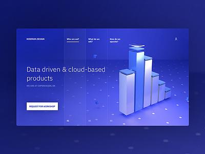 Cloud and data driven landing page cloud data analysis data web art motion design blender 3d landing page