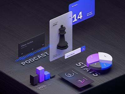 AR UI Kit trending webdeisgn game chess illustration blender3d colors isometric design b3d blender 3d