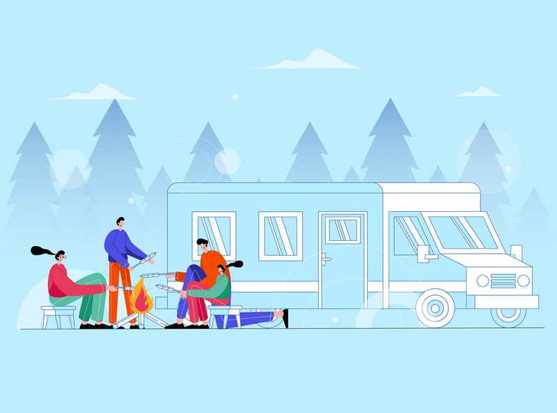 Family Camping Together In Forest - Vector Illustration camp hiking holiday trip lifestyle happy travel outdoor recreation nature adventure people illustration vacation leisure summer together forest vector family