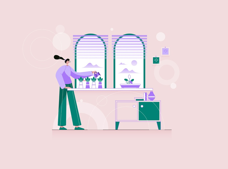 A Young Woman Waters Her Houseplants botanical gardening botany care concept watering cartoon garden flat grow people female person hobby illustration houseplant young vector plant woman