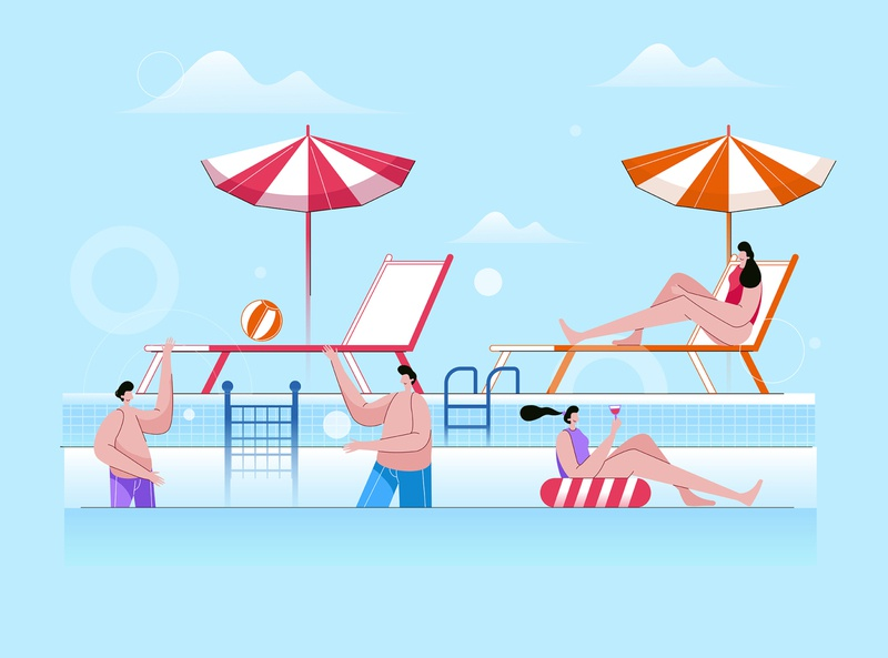 Group Of Friends Having Fun In Swimming Pool activity happy swimming leisure cartoon young holiday party beach vacation friends pool people fun group illustration summer vector water