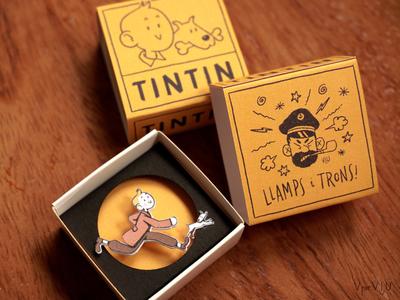 ✨ Tiny Tintin Diorama ✨ matchbox packaging retro midcenturymodern mid-century midcentury mid century craft handmade fanart tintin illustration cute