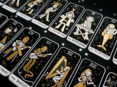 ✨TAROT in treble clef✨ folklore halloween indian ink acrylic paint musical instruments music illustration art game card deck tarot character design golden inks inktober illustration