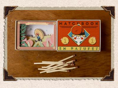 ✨En Patufet✨ limited palette children book illustration character design children illustration print retro vintage matchbox miniature papercutting diorama papercut paper art illustrator illustration