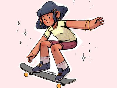 ✨Sk8ergrl✨ illustration agency cartoon skateboard girl character designs original character visual development skater character design art direction design illustration
