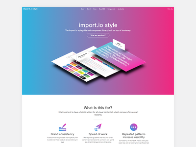 import.io style css library brand guidelines component library components ux ui style branding styleguide