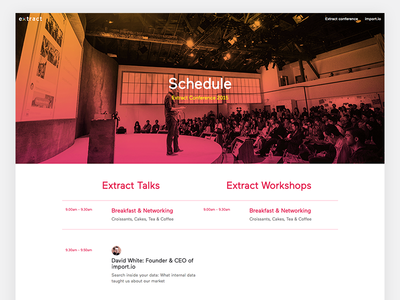 Conference schedule page timetable extract data speakers conference schedule ux ui web