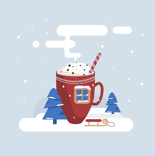 Coffee Illustration winter scene adobe illustrator cc web vector icon design illustration