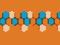 Orange and blue Hexagon Pattern