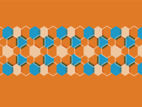 Orange, blue and white Hexagon Pattern