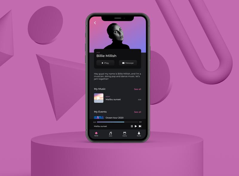 App Music UI browser media player mockup design gradient typography ux illustration branding vector minimal figma music app mockup uidesign app design app flat ui