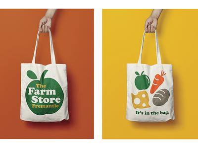 Organic good store logo bag design branding logo illustration vector