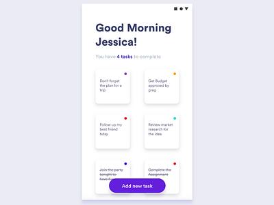 Todo Tasks App - Minimal Design widget white minimalistic design mobile app clean design adobe xd design ui ux tasks todo note ap design android app
