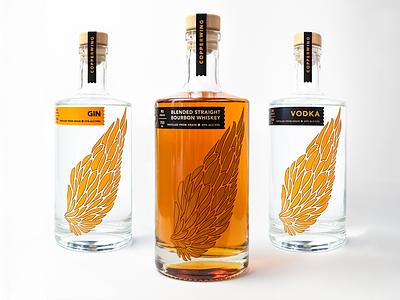 Copperwing Packaging distillery minnesota orange wings bottle vodka whiskey packaging