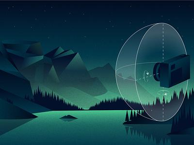 Panorama illustration for Adobe Blog article tree water mountain adobe panoramic illustration camera landscape