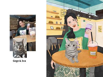 Gege&3va drawing freetime warm love coffee shop girl art illustration cat