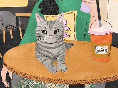 「Gege」 means  princess👸 coffee shop freetime vintage graphic cat characterdesign character illustration
