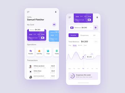 Finance App payments balanced bank card chart dashboard ui  ux statistics interface design financial finances banking app banking bank app design mobile app finance app