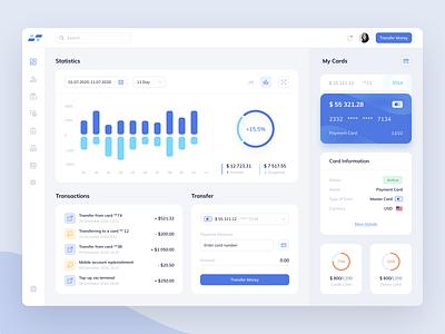 Bank - Dashboard payments web transfer finance admin card bank app banking bank ui credit card transactions money chart statistics design interface ui  ux dashboard