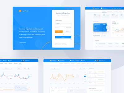 Cryptofund - Project Cryptocurrency cryptocurrency investments design statistics login page interface money crypto wallet cryptocurrency exchange crypto credit card ui  ux bitcoin transactions cryptocurrency
