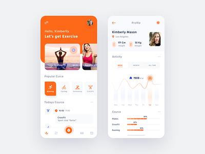 Sport App statistics interface chart profile schedule mobile app dashboard fitness mobile ux  ui sport