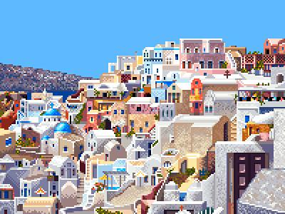 Oia, Santorini island panorama scenery summer island greece enviroment landscape pixelart pixel 16bit 8bit illustration
