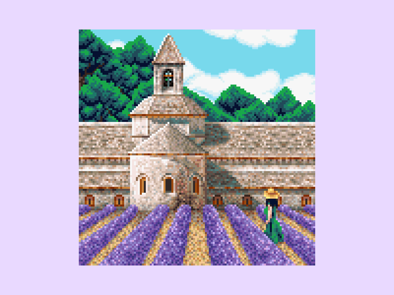 Lavender Provence castle countryside purple abbey luberon lavender france provence clouds background architecture enviroment pixel art pixelart pixel 8bit 16bit illustration
